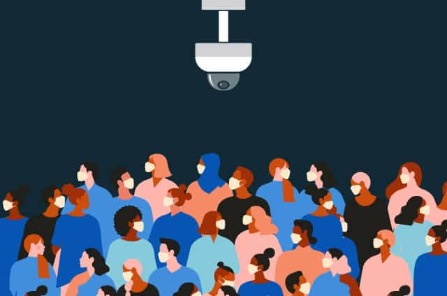 An illustration of a crowd of people, all wearing masks, under a surveillance camera.