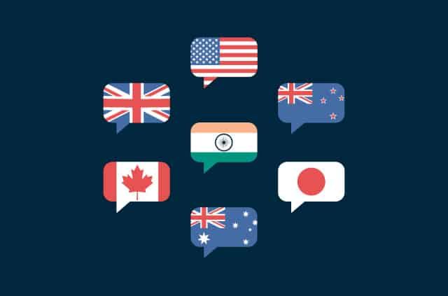 Message bubbles made up of US, UK, Australia, Japan, New Zealand, Canada, UK, and India flags