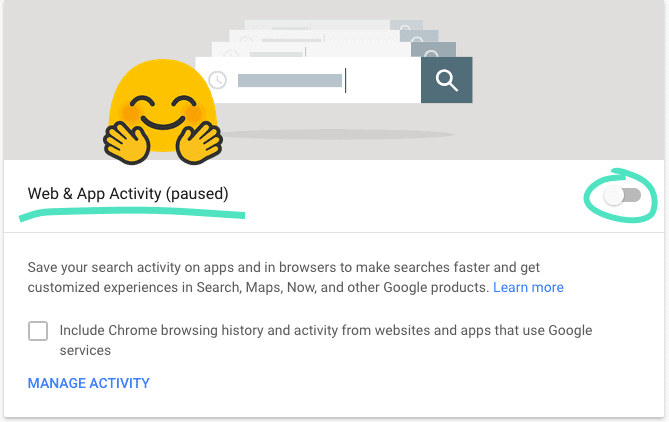 "Google's ""Web & App Activity"" screen, with the sliding toggle set to ""paused."""