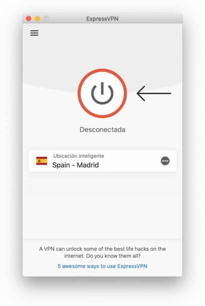 Haga clic para conectarse a ExpressVPN en Mac.