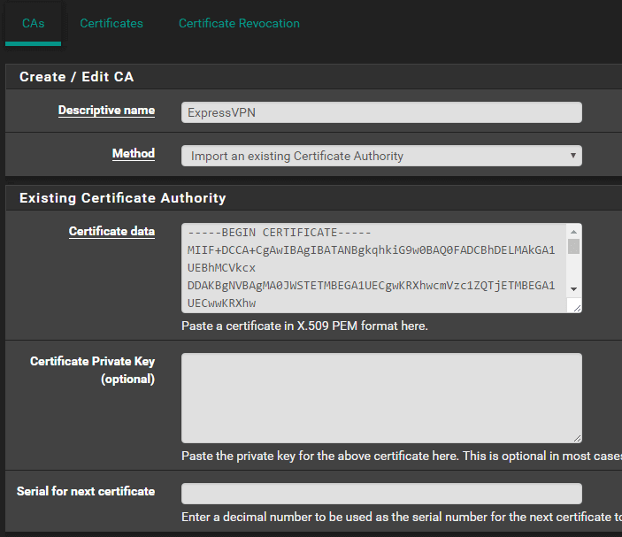 enter your certificate authority details and save your settings.