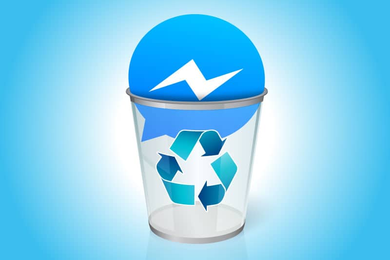 How to uninstall Facebook Messenger: Facebook Messenger icon in a trash can.