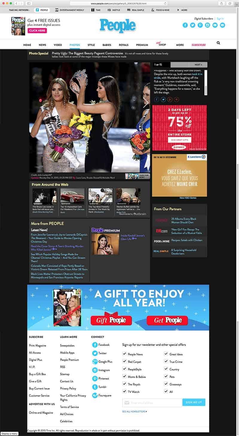 screenshot of webpage viewed with no adblockers on