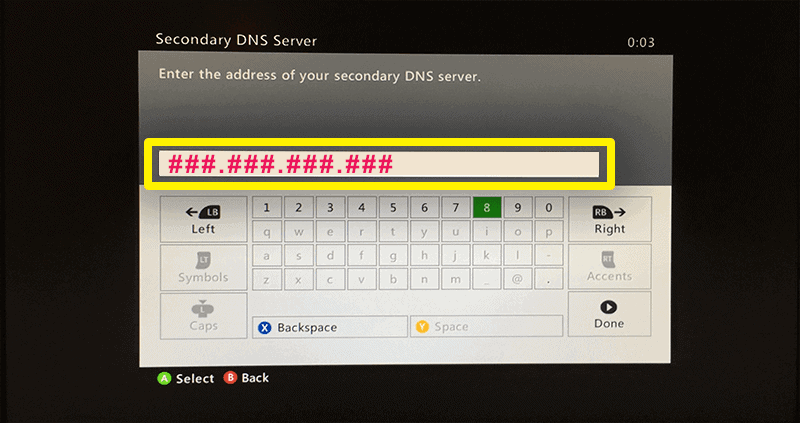enter the DNS server IP address