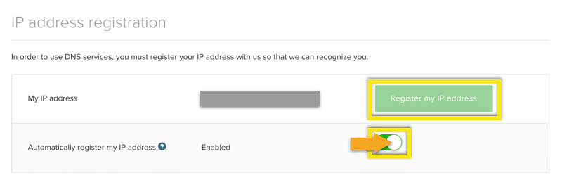 Register your IP address.