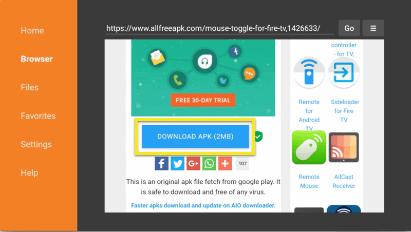 Browser tabblad met Download APK button gemarkeerd.