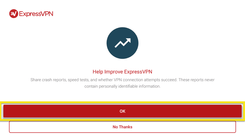 Send anonymous analytics to help improve ExpressVPN on Mi Box.