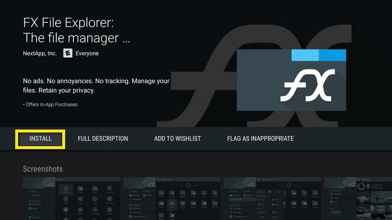 Installeer FX File Explorer.