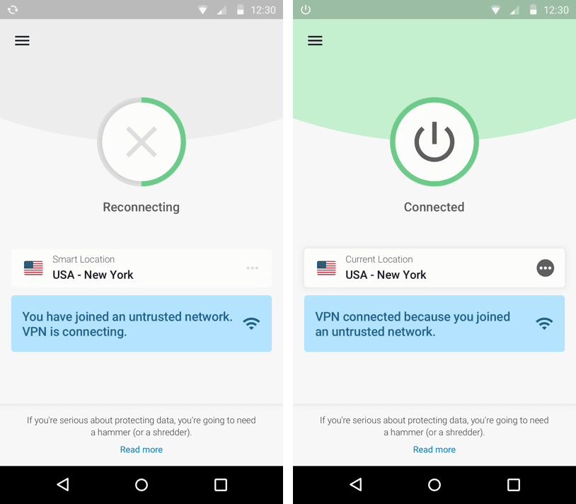 The ExpressVPN Android app connecting on an untrusted network.