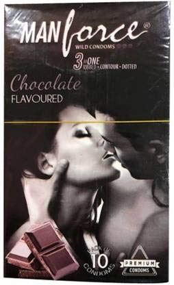 Manforce Wild Chocolate in 1 Wild Ribbed Contour Dotted Condoms - Chocolate Flavored (Pack of 10) - 22