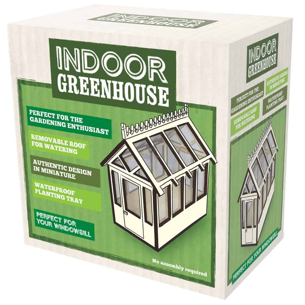 Image shows the outer retail box. There's an image of the greenhouse to the front.