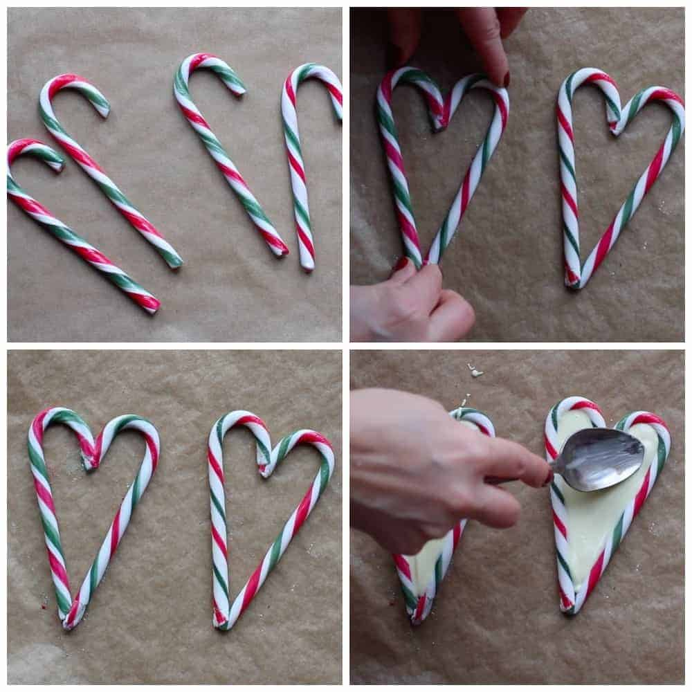 Full instructions for how to make candy cane hearts