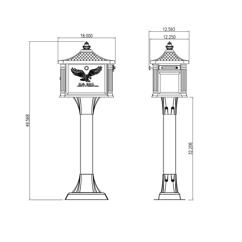 Hemingway mailbox size and dimensions