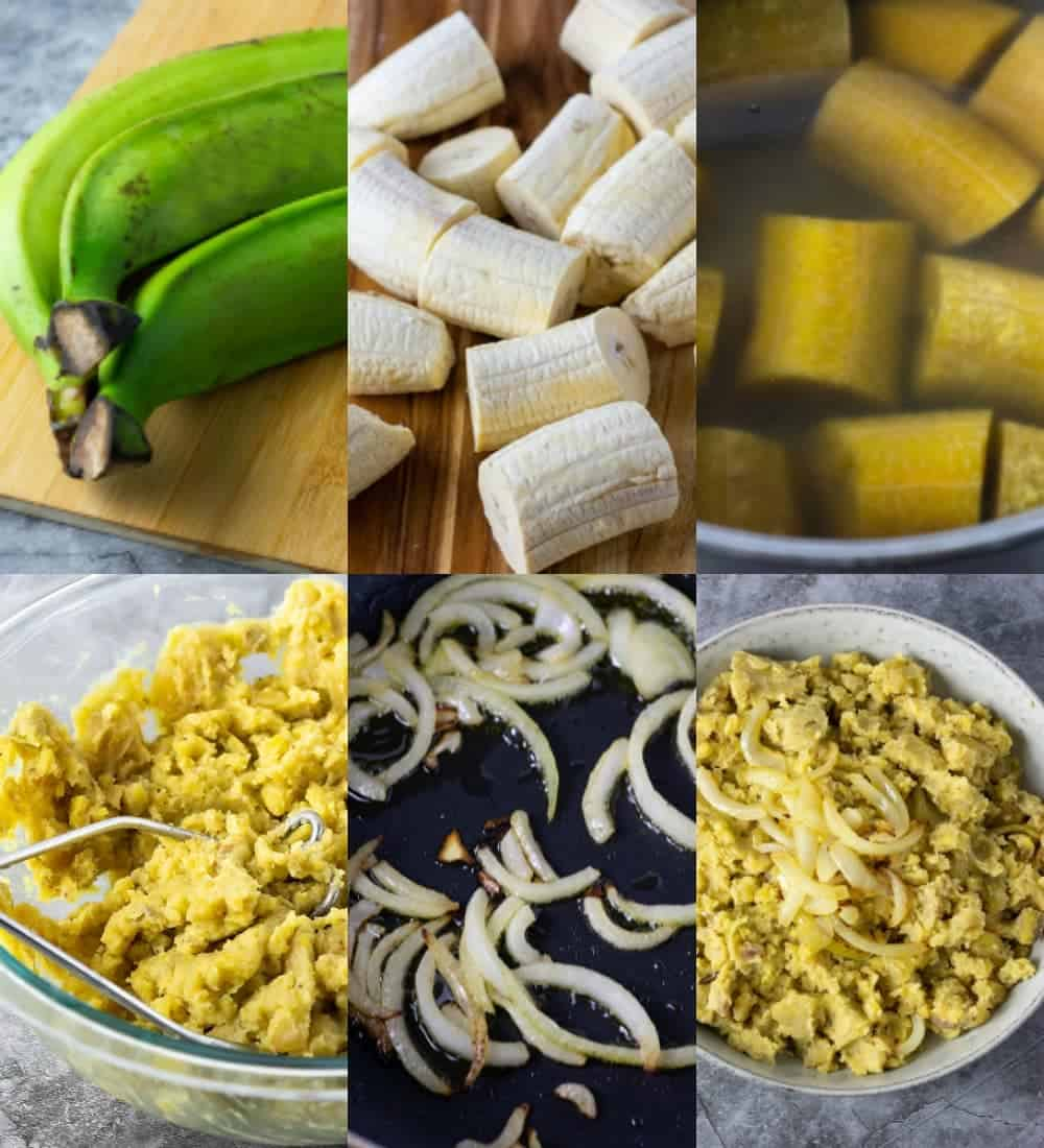 Steps for making mangu Dominican mashed plantains