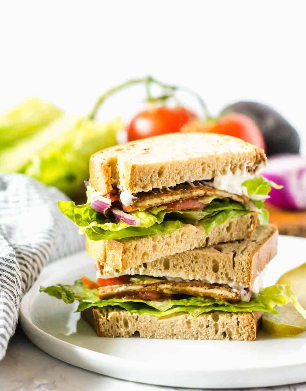 Vegan BLT Sandwich stacked