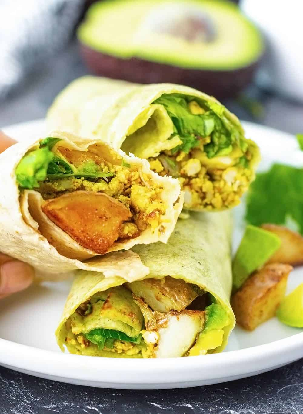 Vegan Breakfast Burrito on a white plate