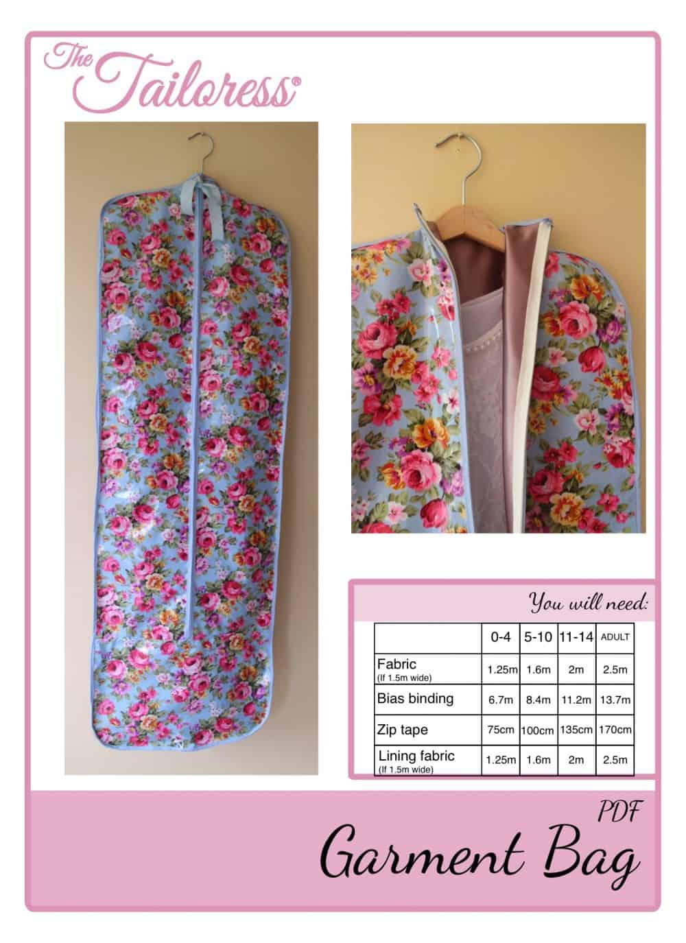 The Tailoress PDF Sewing Patterns - Garment Bag Tutorial