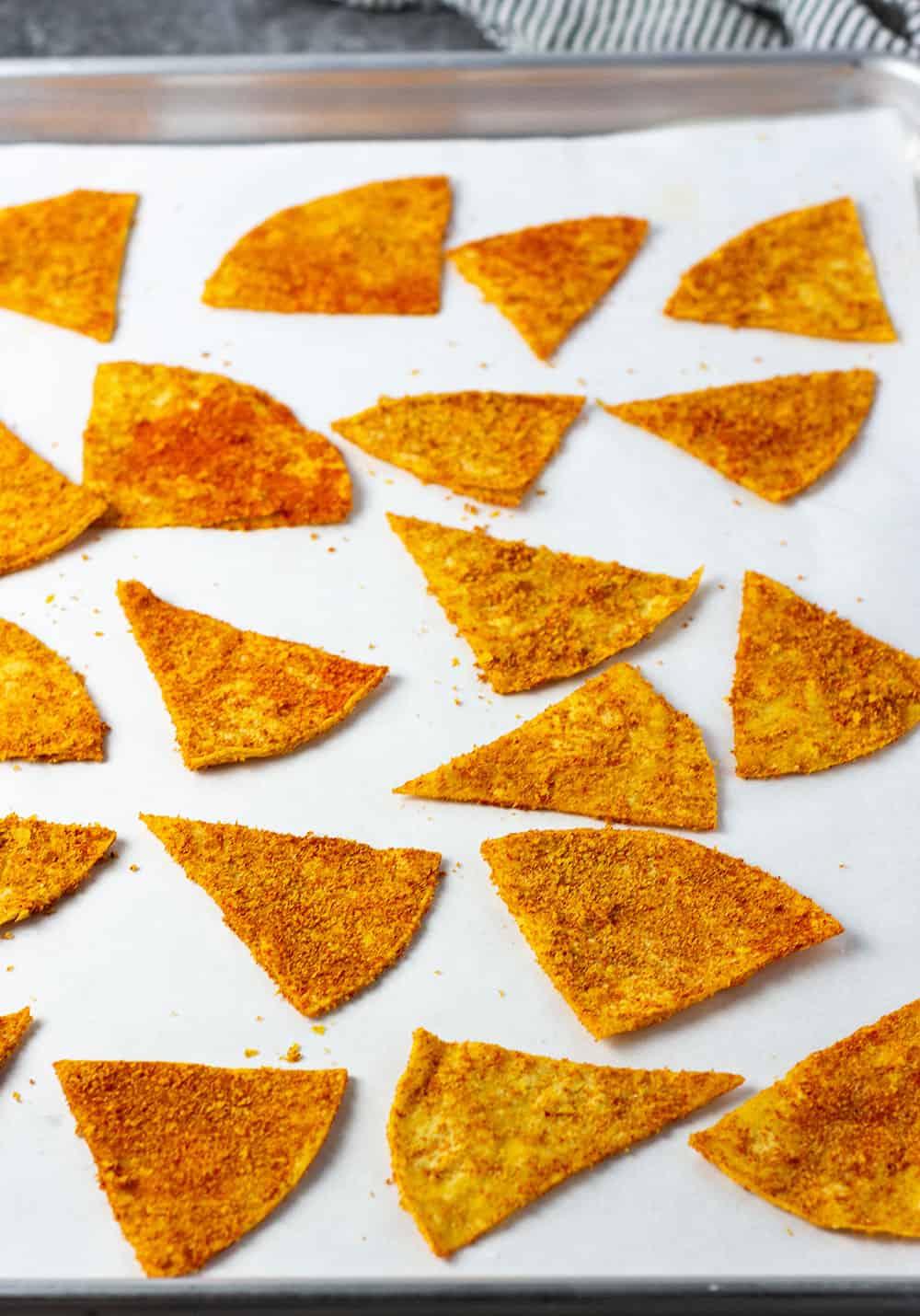 Vegan doritos on a baking sheet