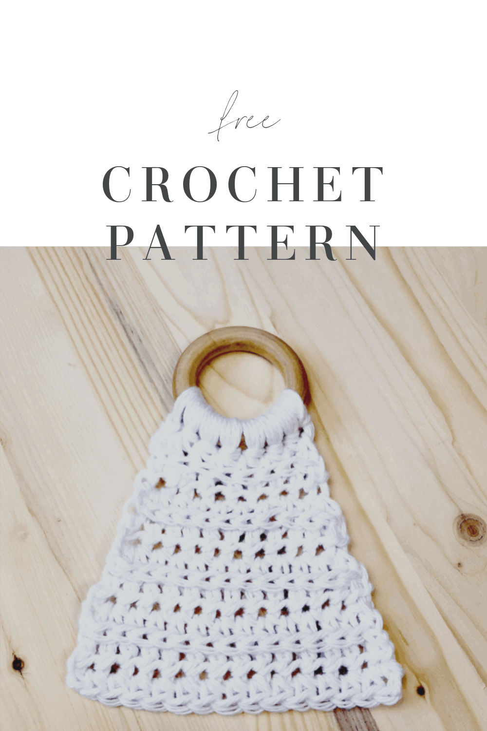 picture of white crochet lovey with wood ring