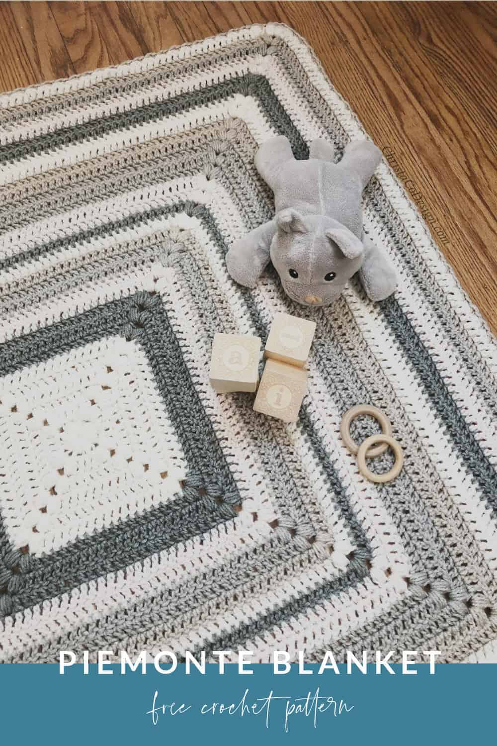 picture with text Piemonte Blanket free crochet pattern pin image