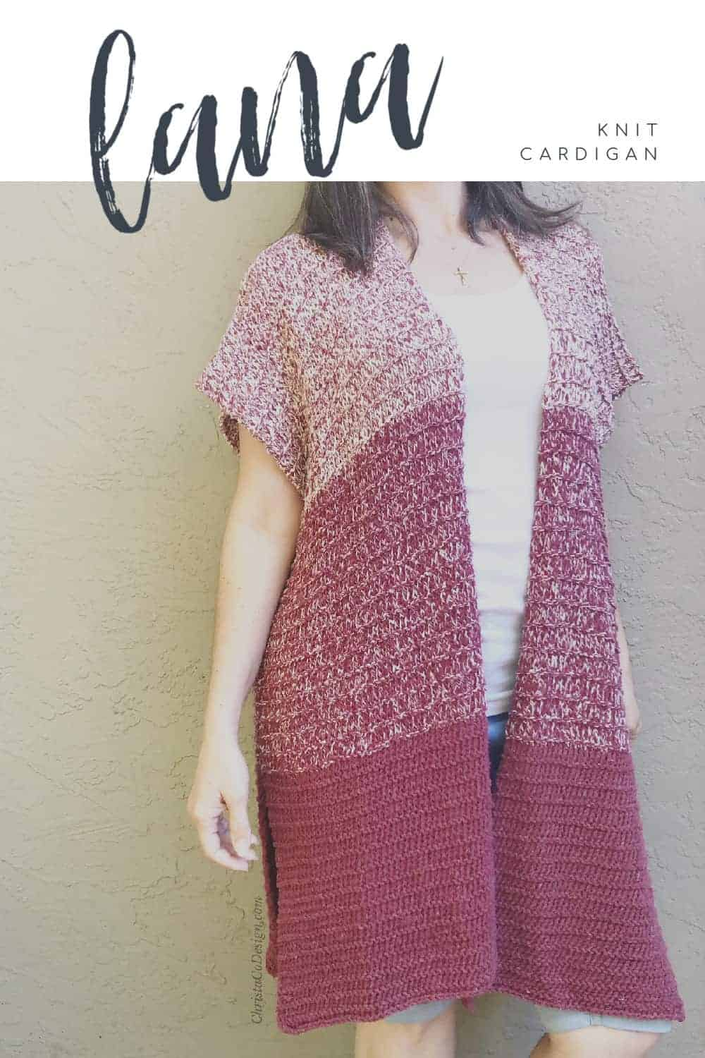 picture of woman in maroon knit cardigan pin image with text Lana
