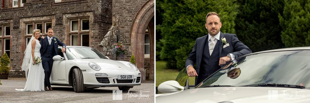 bride and groom arrive at buckland hall.