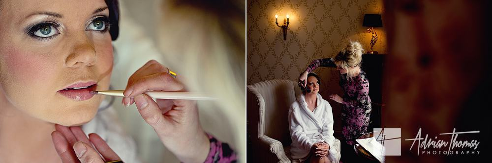 Bride having makeup applied at New House Hotel Wedding Marquee