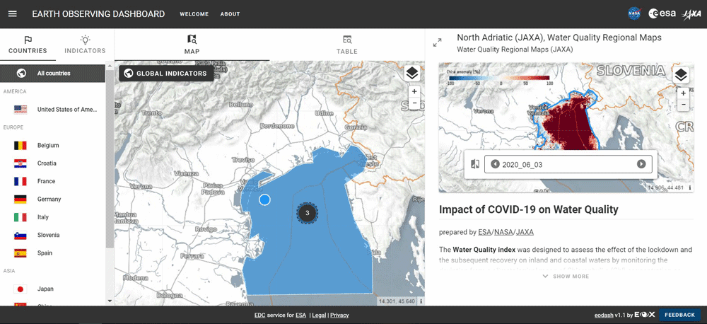 Screenshot from the COVID-19 Earth Observation Dashboard.