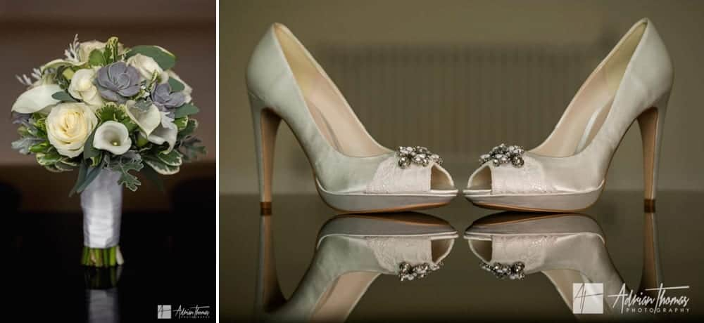 Brides shoes at wedding.