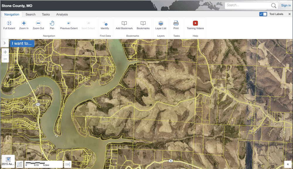 Web GIS solution for Parcel information for Stone County, Missouri.