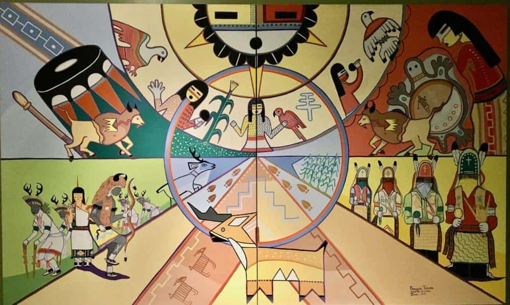 A mural depicting aspects of pueblo indian life at the pueblo cultural center.