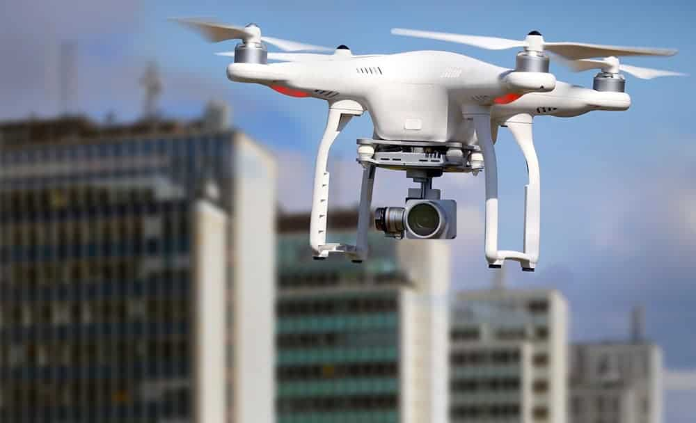 drone in city