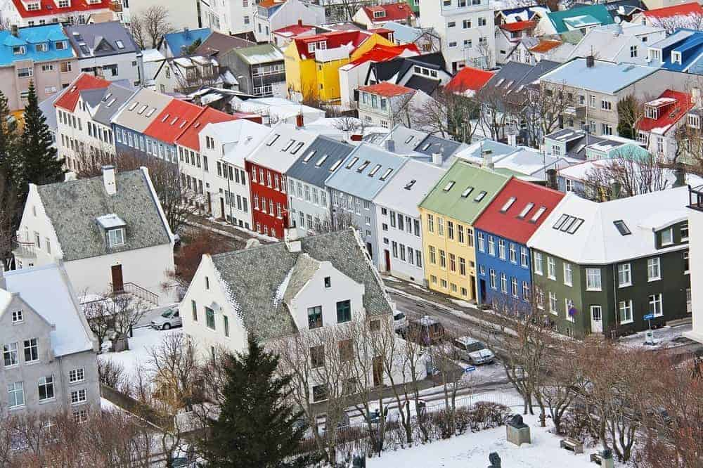 Reykjavic is a city of colorful low-rise buildings