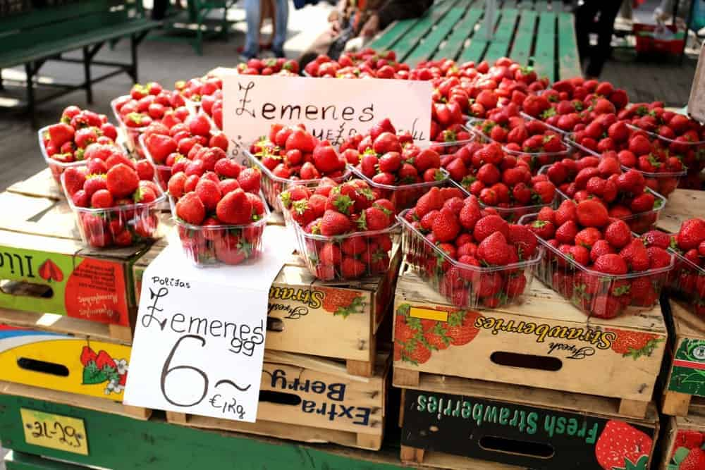Strawberries at Central Market in Riga