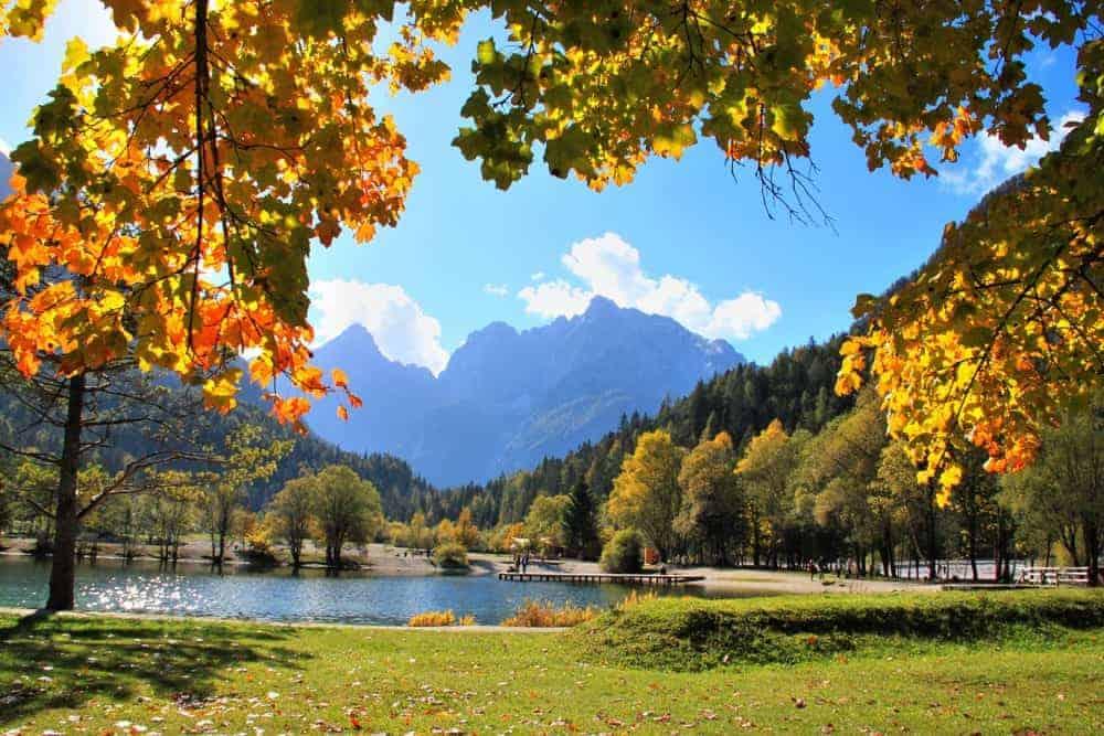 slovenia beautiful places, autumn trees, mountains, lake jasna