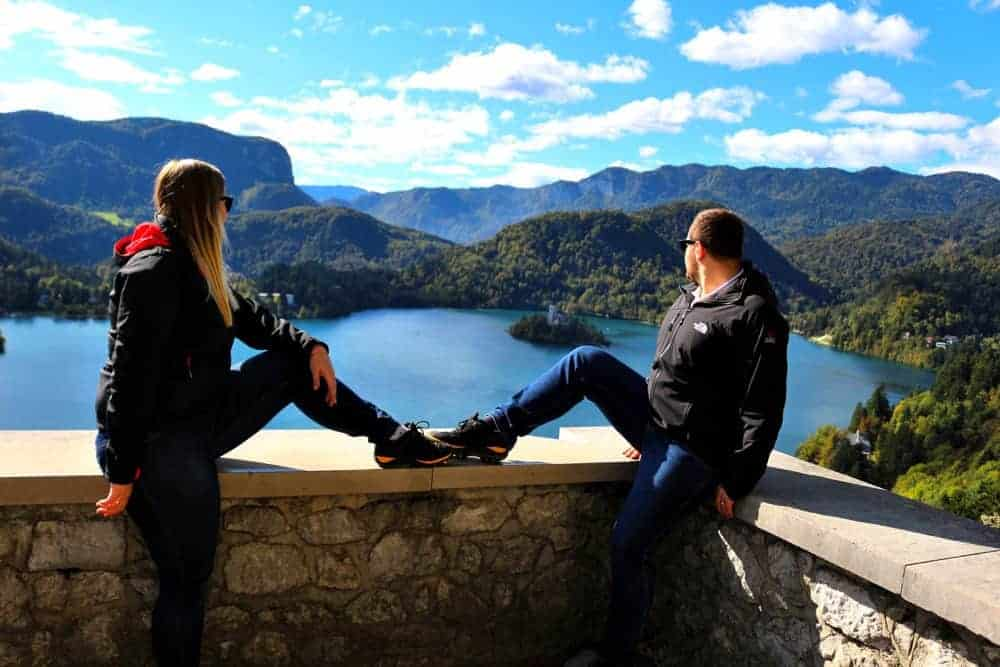 couple lake bled most beautiful places in Slovenia