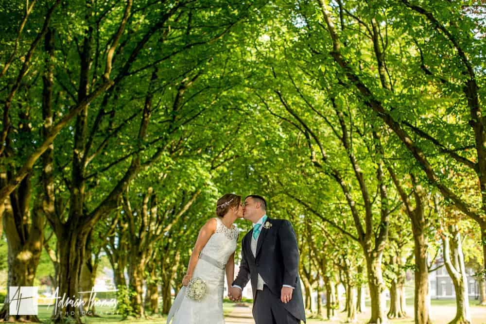 Photograph of wedding couple at Hensol Castle grounds