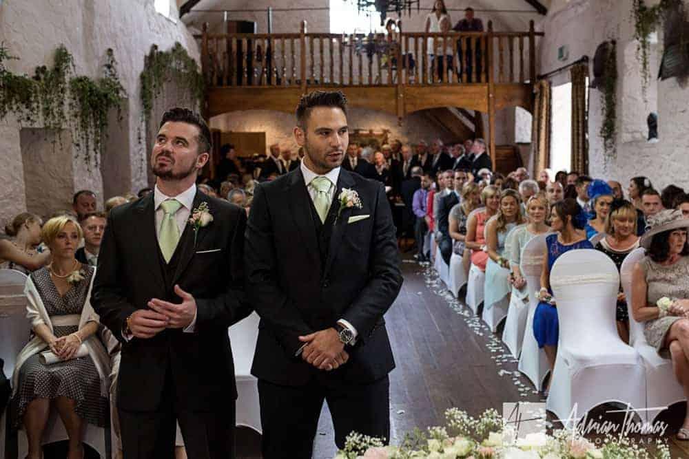 Nervous groom and bestman before wedding.