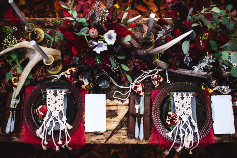 Hochzeitstrends  Boho Hochzeit Tischdekoration