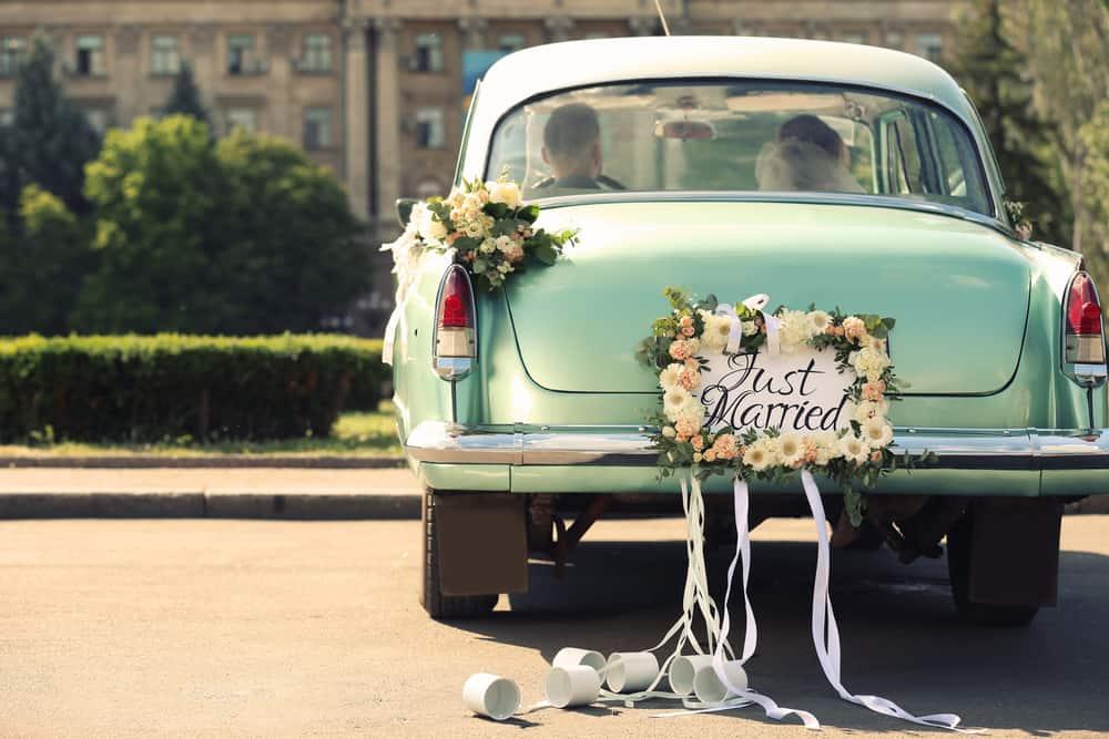 Hochzeitsblumen Hochzeitsauto Oldtimer Dekoration