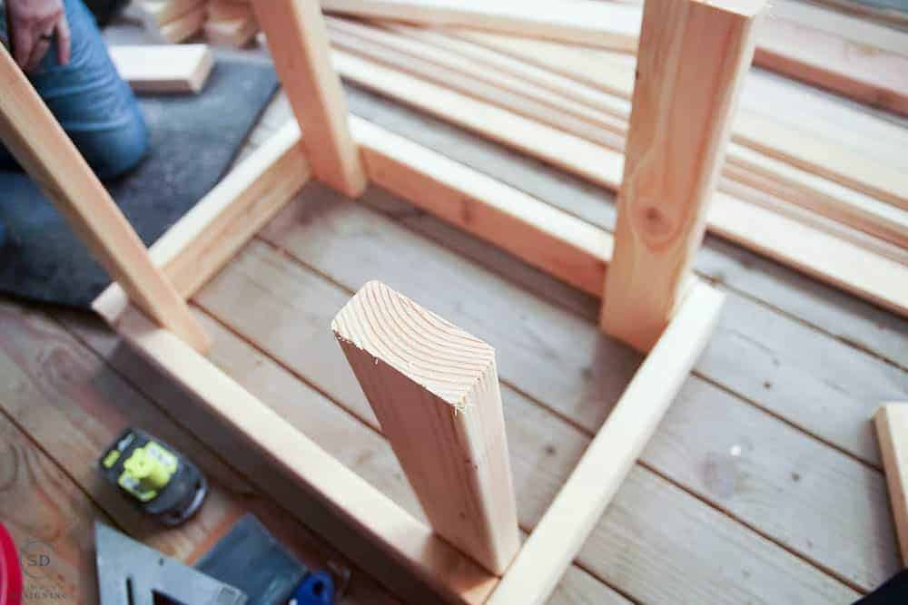 beginings of a wood frame for a cat house