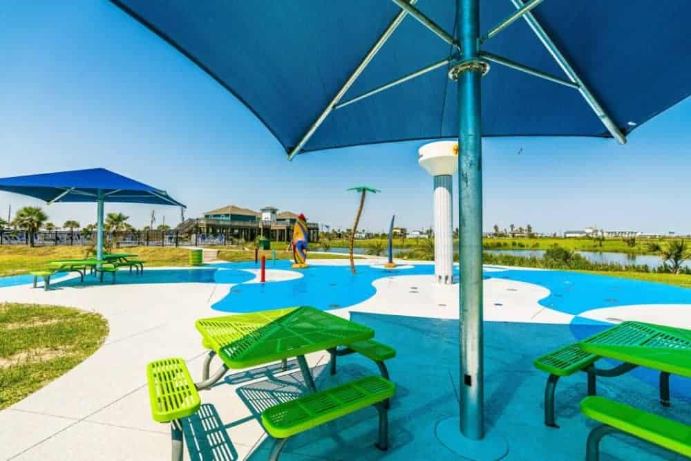 A splash pad at an upscale rv resort.