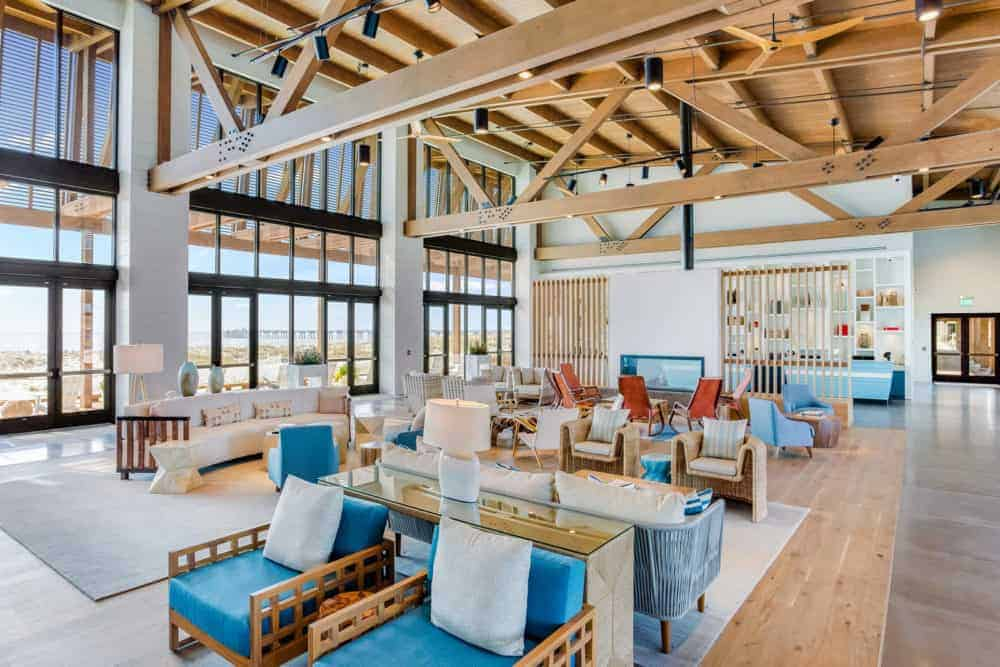 The bright and airy lounge at the lodge at gulf state park.