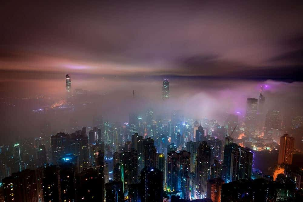 night cityscape photography with fog