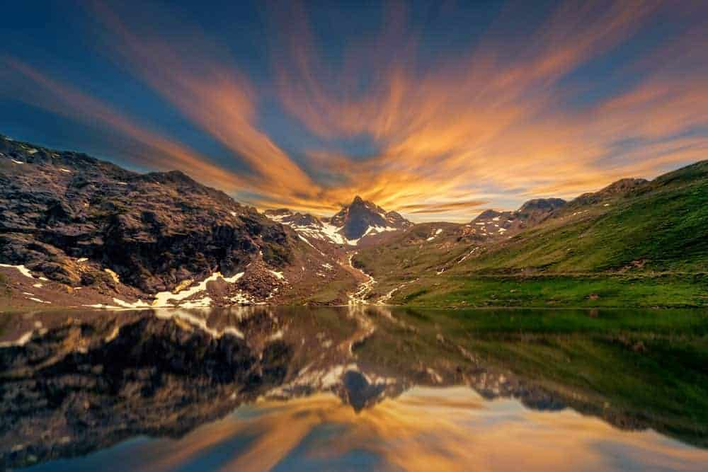 Sunrise photography mountain and lake