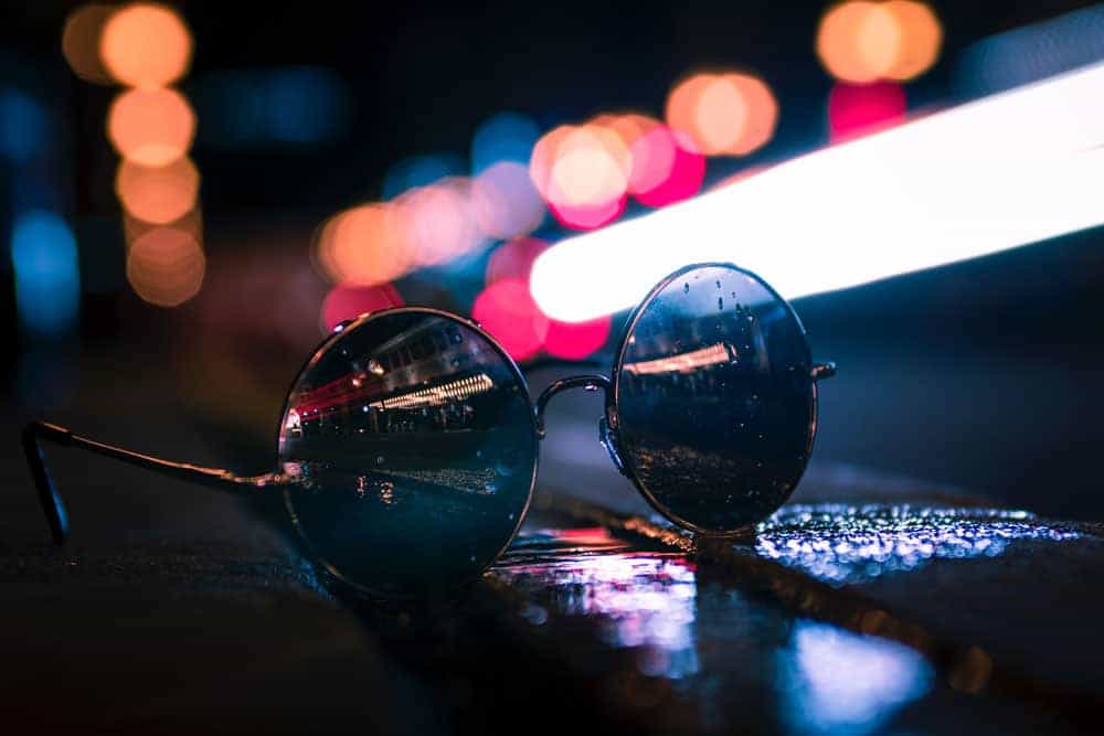 Photo of glasses at night with a bokeh background