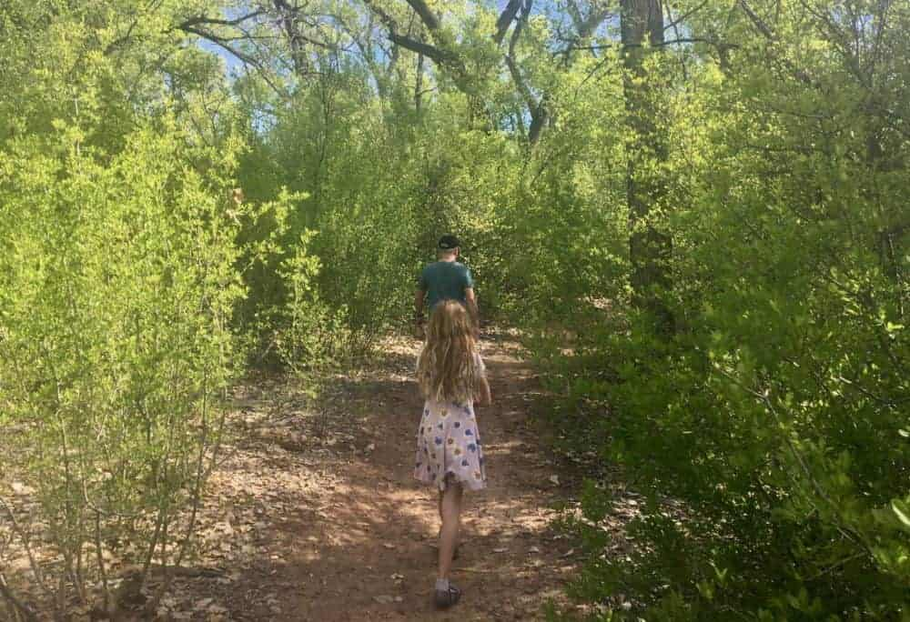 Exploring a woodsy side trail off of the paseo de bosque in albuquerque