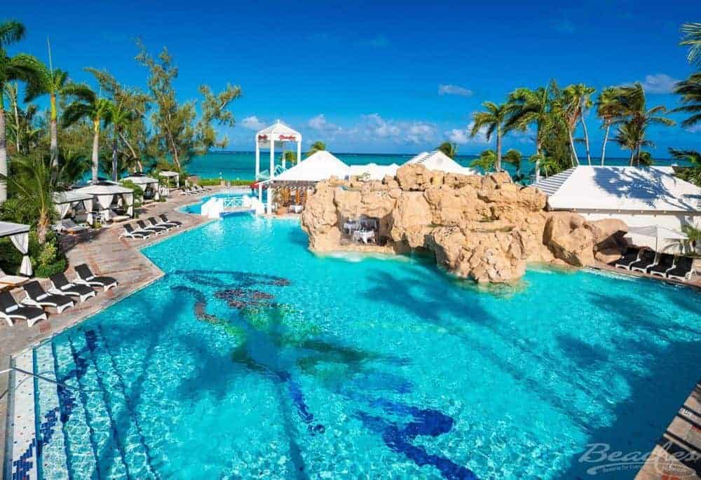 A landscaped pool at beaches resort