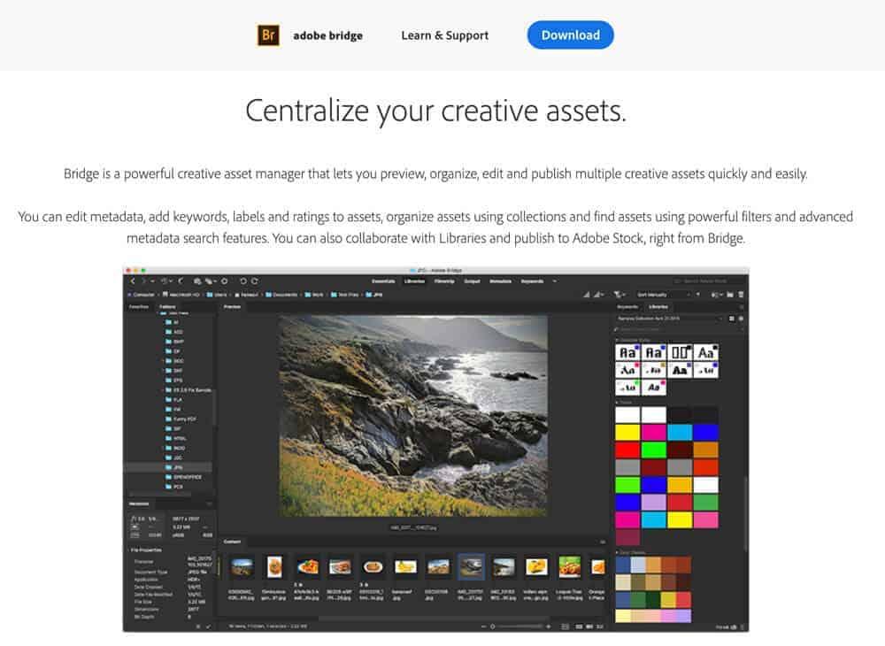 Adobe Bridge photo manager