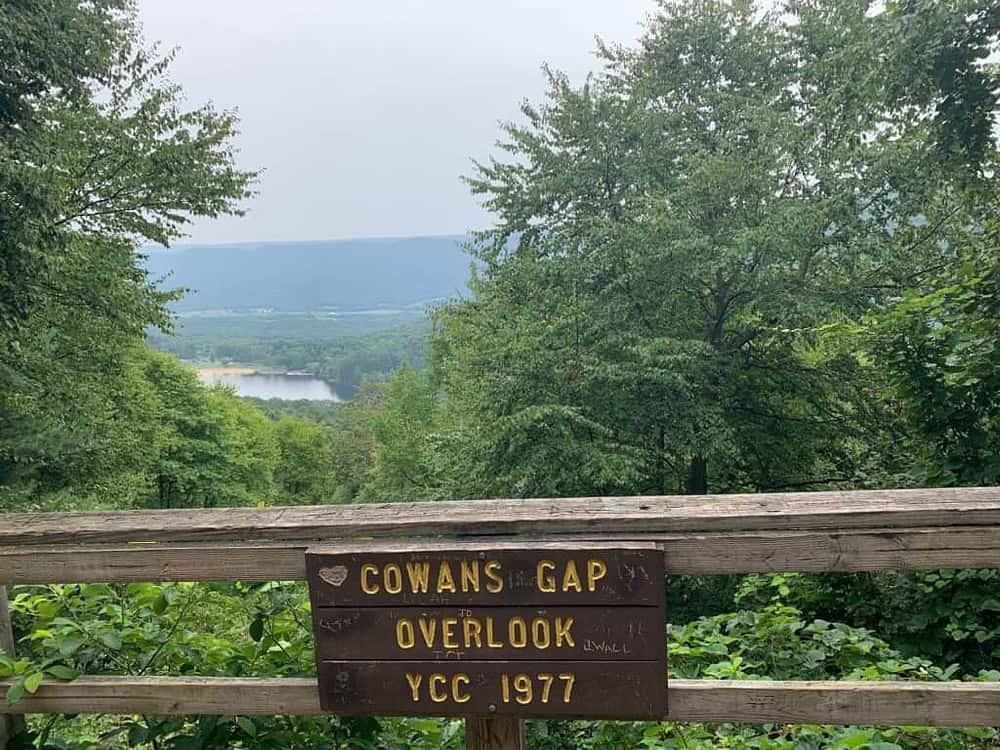 cowans gap state park overlook sign